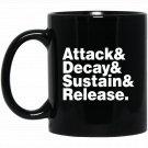 Attack _ Decay _ Sustain _ Release ADSR Black  Mug Black Ceramic 11oz Coffee Tea Cup