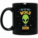 8 Years Old Geek Alien Happy Birthday Gift Since 2009 Black  Mug Black Ceramic 11oz Coffee Tea Cup