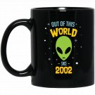 15 Years Old Geek Alien Happy Birthday Gift Since 2002 Black  Mug Black Ceramic 11oz Coffee Tea Cup