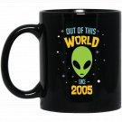 12 Years Old Geek Alien Happy Birthday Gift Since 2005 Black  Mug Black Ceramic 11oz Coffee Tea Cup