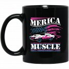 The Muscle Cars Vintage Classic American Flag Black  Mug Black Ceramic 11oz Coffee Tea Cup