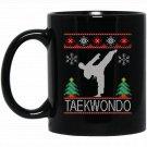 taekwondo Christmas ugly Black  Mug Black Ceramic 11oz Coffee Tea Cup