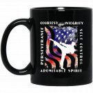 Taekwondo Apparel American Flag Taekwon-do 5 Tenets Black  Mug Black Ceramic 11oz Coffee Tea Cup