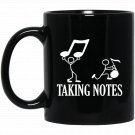 T Taking Notes Musicality Half Note Bass Treble Cleft Black  Mug Black Ceramic 11oz Coffee Tea Cup
