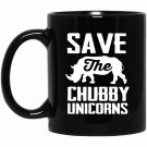 Save The Chubby Unicorns Funny Rhinocerus Protection Black  Mug Black Ceramic 11oz Coffee Tea Cup