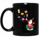 Santa Playing Tuba Christmas Cute Santa Claus Black  Mug Black Ceramic 11oz Coffee Tea Cup