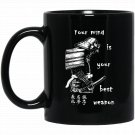 Samurai Warrior Men_s Graphic Black  Mug Black Ceramic 11oz Coffee Tea Cup