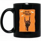 Rock or Treat Skeleton Hand Sign of the Horns Black  Mug Black Ceramic 11oz Coffee Tea Cup
