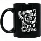 Racecar Steps Racecar Funny Fast Car Black  Mug Black Ceramic 11oz Coffee Tea Cup