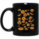 Pumpkin Ninja Jack o Lantern Eye Mask (Dark Colors) Black  Mug Black Ceramic 11oz Coffee Tea Cup