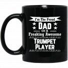 Proud Dad Awesome Trumpet Player Marching Band Black  Mug Black Ceramic 11oz Coffee Tea Cup