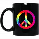 PEACE SIGN Tie Dye Hippies Christmas s Black  Mug Black Ceramic 11oz Coffee Tea Cup