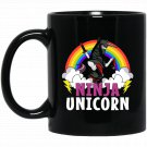Ninja Unicorn Colorful Rainbow Metal Martial Arts Black  Mug Black Ceramic 11oz Coffee Tea Cup