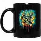 MudgeWare Skull and Microphone Crossbones Black  Mug Black Ceramic 11oz Coffee Tea Cup