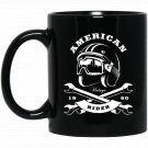Motorcycle American distressed s women men Black  Mug Black Ceramic 11oz Coffee Tea Cup