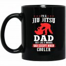Mens T I AM JIU JITSU DAD Medium Silver Black  Mug Black Ceramic 11oz Coffee Tea Cup