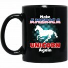 Make America Unicorn Again Funny Patriotic Satire Black  Mug Black Ceramic 11oz Coffee Tea Cup