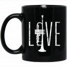 Love L-O-V-E Trumpet Brass Musician Retro Distressed Black  Mug Black Ceramic 11oz Coffee Tea Cup