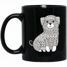Lovable Mutt Dog - Color Your Own Colorific s Design Black  Mug Black Ceramic 11oz Coffee Tea Cup