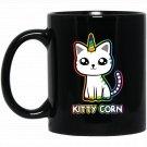 Kitty Unicorn Black  Mug Black Ceramic 11oz Coffee Tea Cup
