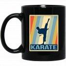 karate vintage Black  Mug Black Ceramic 11oz Coffee Tea Cup