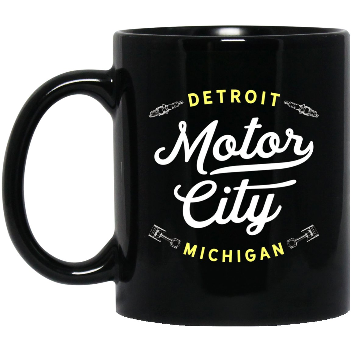 Iconic Motor City Detroit Michigan Throwback American T Black  Mug Black Ceramic 11oz Coffee Tea Cup