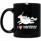 I Love Unicorns Funny Cartoon Black  Mug Black Ceramic 11oz Coffee Tea Cup