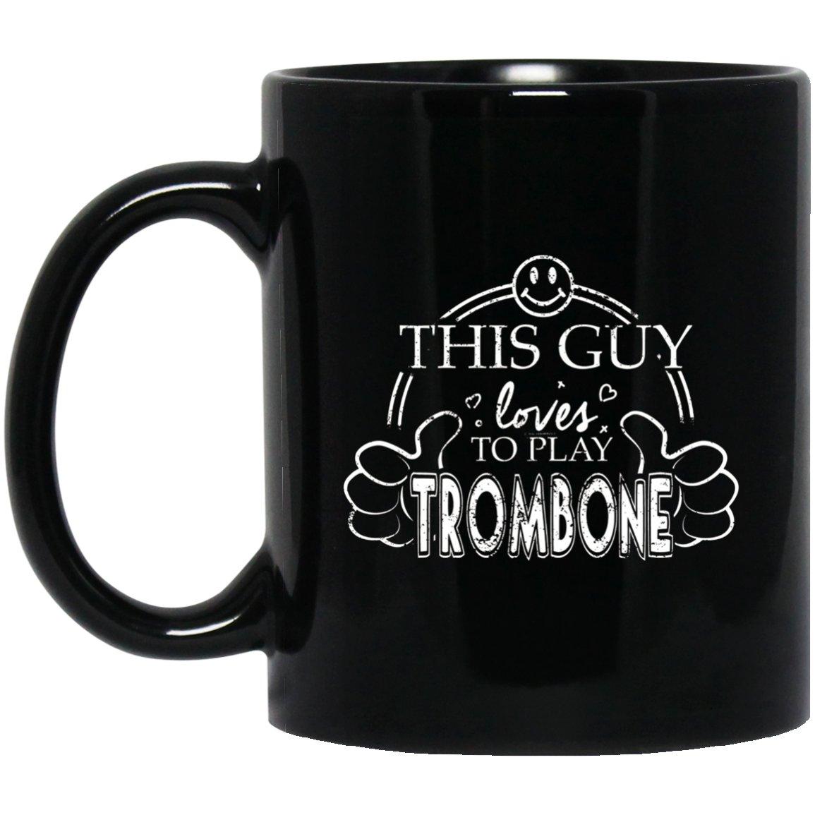 High School Band Guy Trombone College Marching Band Black  Mug Black Ceramic 11oz Coffee Tea Cup