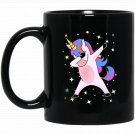 Funny _ Cute Dabbing Unicorn Dab Gift Black  Mug Black Ceramic 11oz Coffee Tea Cup