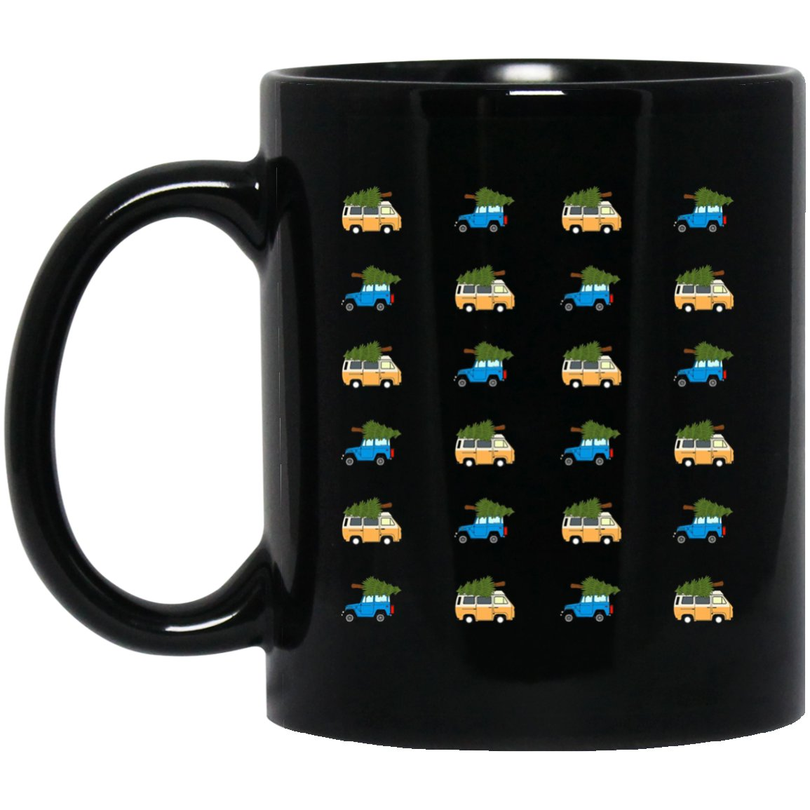Funny Ugly Christmas repeating pattern for Car lovers Black  Mug Black Ceramic 11oz Coffee Tea Cup