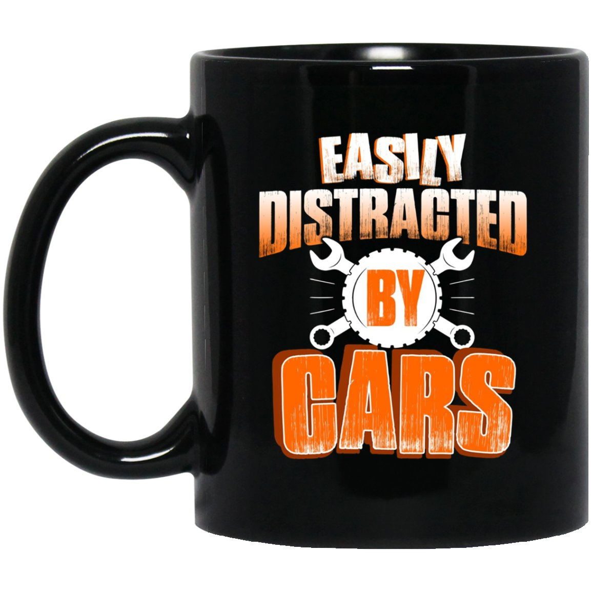 Funny Mechanic Easily Distracted By Cars Gifts Black  Mug Black Ceramic 11oz Coffee Tea Cup