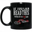 Funny Biker And Biker Chick Design On Back Black  Mug Black Ceramic 11oz Coffee Tea Cup