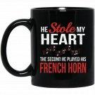 French Horn Musician Band Orchestra Appreciation Black  Mug Black Ceramic 11oz Coffee Tea Cup
