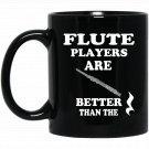 Flute Music Gift Flute instrument Sheet Music Rest Black  Mug Black Ceramic 11oz Coffee Tea Cup