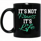 Fitness Workout and Gym T Black  Mug Black Ceramic 11oz Coffee Tea Cup
