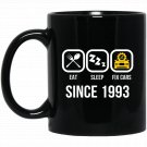 Eat Sleep Fix Cars Since 1993 24th Birthday Gift Black  Mug Black Ceramic 11oz Coffee Tea Cup