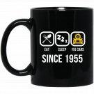 Eat Sleep Fix Cars Since 1955 62nd Birthday Gift Black  Mug Black Ceramic 11oz Coffee Tea Cup
