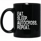 Eat Sleep Autocross Repeat - JDM Classic Euro Racing Black  Mug Black Ceramic 11oz Coffee Tea Cup