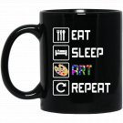 Eat Sleep Art Repeat Funny Artist Black  Mug Black Ceramic 11oz Coffee Tea Cup