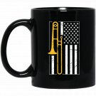 Distressed American Flag Trombone Black  Mug Black Ceramic 11oz Coffee Tea Cup