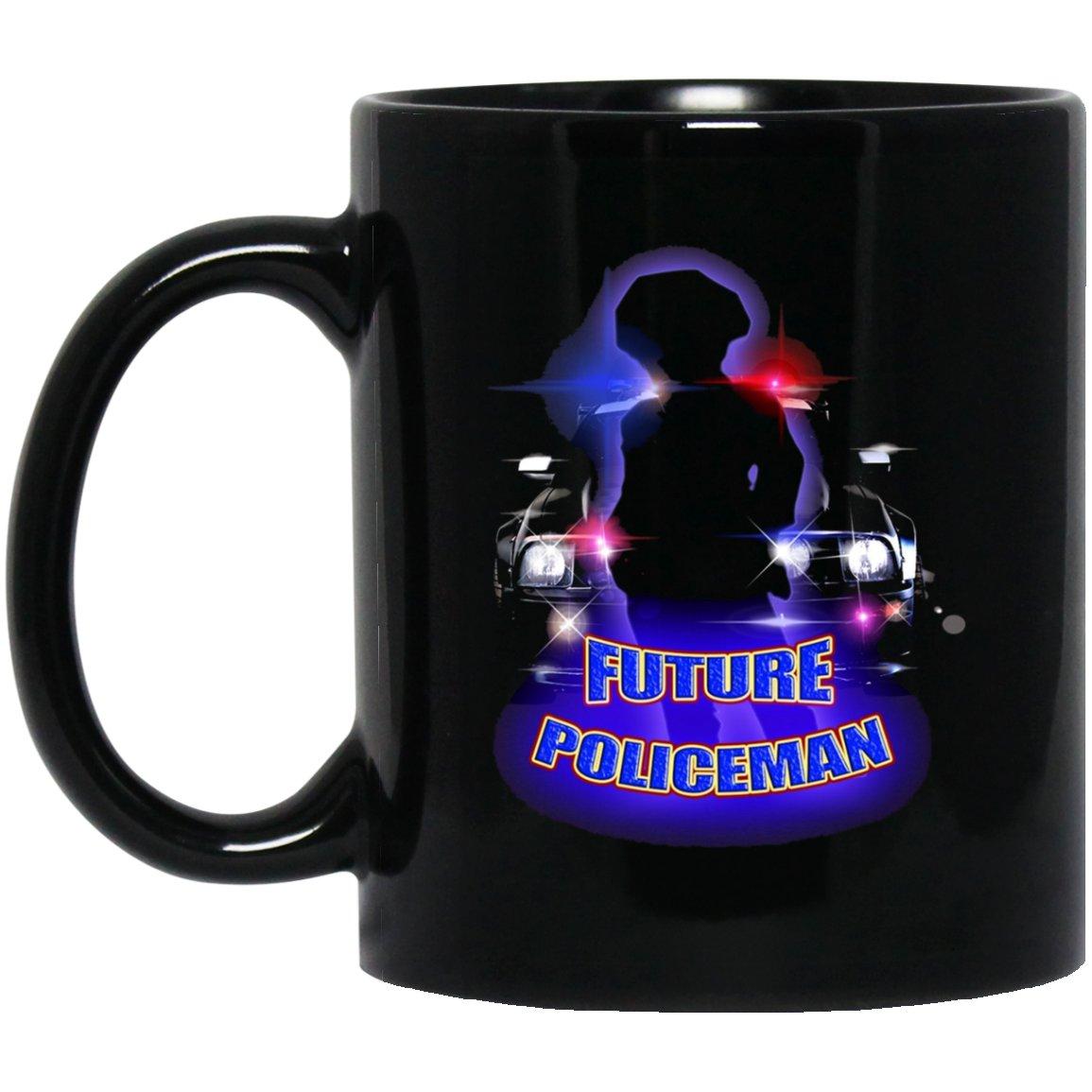 Cute Unique Future Policeman Kids Police Black  Mug Black Ceramic 11oz Coffee Tea Cup