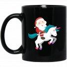 Cute Santa Riding Unicorn Drawing Christmas Graphic Black  Mug Black Ceramic 11oz Coffee Tea Cup