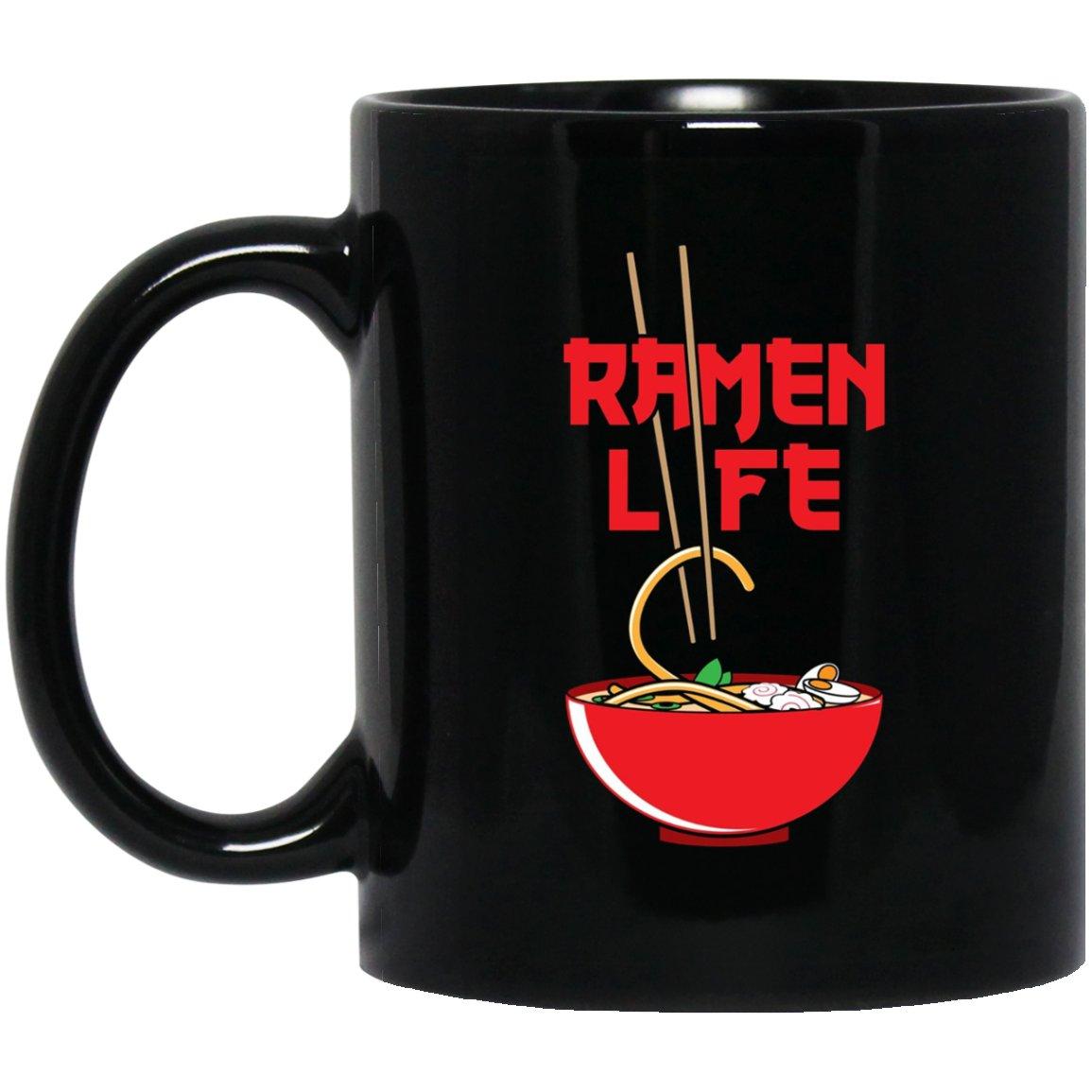 Cute Ramen Funny Ramen Life Student Gift Black  Mug Black Ceramic 11oz Coffee Tea Cup
