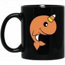 Cute Orange Candy Corn Horn Narwhal Halloween Black  Mug Black Ceramic 11oz Coffee Tea Cup