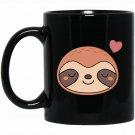 Cute Kawaii Sloth With A Heart Black  Mug Black Ceramic 11oz Coffee Tea Cup