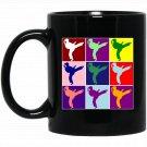 Cute Colorful Girl Karate Martial Arts Pop Type Art Black  Mug Black Ceramic 11oz Coffee Tea Cup