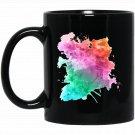 Colorful Watercolor Splatter Artistic Paint Black  Mug Black Ceramic 11oz Coffee Tea Cup