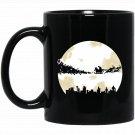 Christmas Santa Reindeer And Moon Graphic Art Gifts Black  Mug Black Ceramic 11oz Coffee Tea Cup