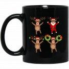 Christmas Reindeer Decoration Family Funny Xmas Cute Black  Mug Black Ceramic 11oz Coffee Tea Cup
