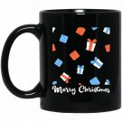 Christmas with Gift boxes and Merry Xmas wording Black  Mug Black Ceramic 11oz Coffee Tea Cup